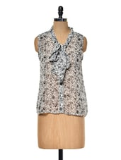 Monochrome Printed Top With Front Knot - Myaddiction
