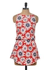Bright Red Floral Print Dress - Myaddiction