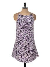 White And Purple Animal Print Dress - Myaddiction