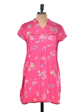 Pink Floral Printed Tunic - Myaddiction