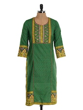 Green And Yellow Straight Kurta - Farida Gupta