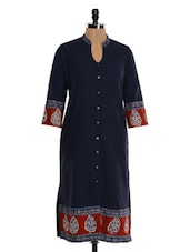 Indigo Cotton Straight Kurta - Farida Gupta