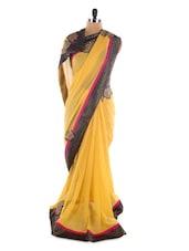 Yellow Georgette Saree With Jacquard Work - Saraswati