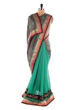 Green And Grey Georgette Saree With Jacquard Work - Saraswati