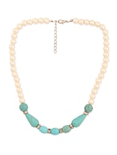 Pearl Necklace With Turquoise Stones - THE BLING STUDIO