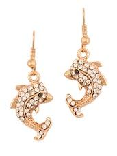 Gold Fish Studded Earrings - THE BLING STUDIO