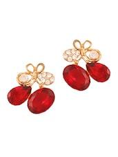 Red Studded Earrings - THE BLING STUDIO