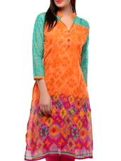 Orange And Pink Printed Kurta - Jainish
