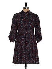 Blue And Maroon Printed Flared Dress - Magnetic Designs