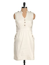 Solid Off-white Cut Sleeved Dress - Magnetic Designs