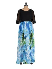 Blue And Black Pleated Maxi Dress - Magnetic Designs