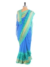 Elegant Blue And Green Saree With Blouse Piece - ROOP KASHISH