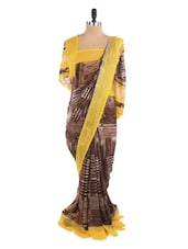 Shaded Yellow And Grey Saree With Blouse Piece - ROOP KASHISH