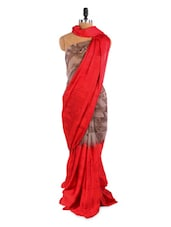 Amazing Red And Grey Saree With Blouse Piece - ROOP KASHISH