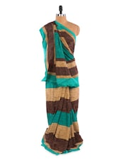 Lovely Blue And Brown Saree With Blouse Piece - ROOP KASHISH