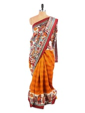 Elegant Red And Yellow Saree With Blouse Piece - ROOP KASHISH