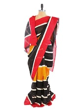 Stylish Yellow And Black Saree With Blouse Piece - ROOP KASHISH
