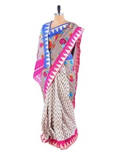 Lovely Grey And White Floral Printed Saree With Blouse Piece - ROOP KASHISH