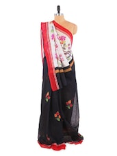 Amazing Black And White Floral Printed Saree With Blouse Piece - ROOP KASHISH