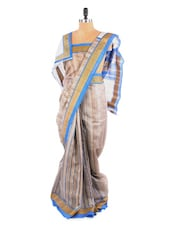 Elegant Grey And Blue Saree With Blouse Piece - ROOP KASHISH