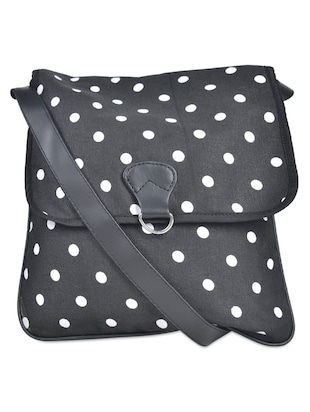 Polka-Dot Print Black Sling Bag