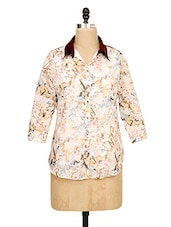 White High-Low Printed Shirt - Ayaany
