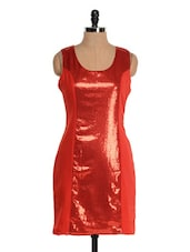 Red  Cut And Sew Sequined Panel Dress - Tapyti