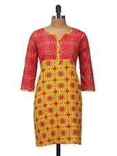 Yellow And Pink Printed Cotton Kurti - Jaipurkurti.com