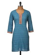 Blue Printed Cotton Kurti - Jaipurkurti.com