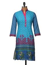 Blue Floral Printed Cotton Kurti - Jaipurkurti.com