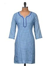 Lovely Blue Printed Cotton Kurti - Jaipurkurti.com