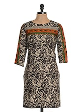 Black Cotton Printed Kurta - Kaccha Taanka