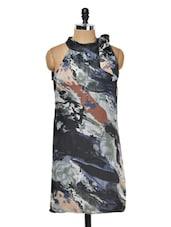 Blue Halter Neck Printed Dress - Meee!