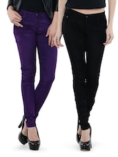 Combo Of Black And Purple Pants - Dashy Club