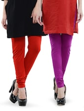 Combo Pack Of Red And Purple Leggings - By