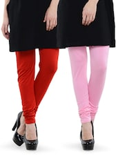 Combo Pack Of Red And Baby Pink Leggings - Nicci Nimo