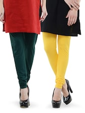 Combo Pack Of Yellow And Deep Green Leggings - Dashy Club