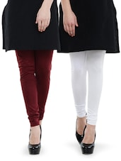 Combo Pack Of White And Maroon Leggings - Nicci Nimo