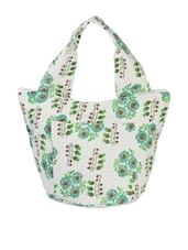 White And Turquoise Floral Print Handbag - Voylla