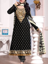 Embroidered Unstitched Suit Set With Monochrome Salwar & Dupatta - Fabfirki