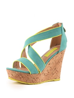 Refreshing Blue And Neon Wedge Sandals - Tresmode