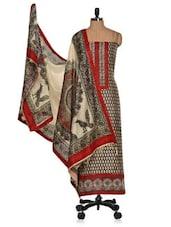 Unstitched Printed  Cotton Silk Ethnic Suit - Vastrangana
