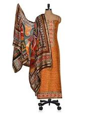 Red & Orange Unstitched Printed Cotton Silk Suit With Multicolour Dupatta - Vastrangana