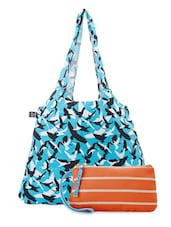 Blue And Orange Cotton Canvas Tote And Wristlet - Be... For Bag