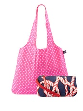 Pink And Blue Cotton Canvas Tote And Wristlet - Be... For Bag