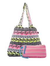 Multi-coloured Cotton Canvas Tote And Wristlet - Be... For Bag - 951133