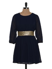Navy Dress With Cluster Gold Waistband - Besiva