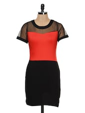Black And Red Bodycon Dress With Mesh Yoke - Besiva