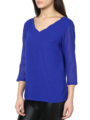tie-up back scallop detail top - 951531 - Standard Image - 2