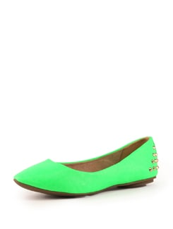Fluorescent Green Shoes With Metal Studs - Tresmode